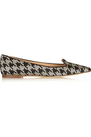 J.Crew Houndstooth-jacquard point-toe flats