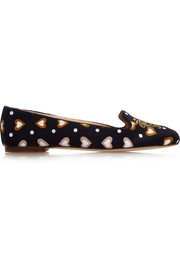 J.Crew Sophie embroidered printed satin loafers