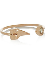 Dezso by Sara Beltràn Petite Shark Tooth 18-karat rose gold diamond phalanx ring