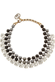Gucci Swarovski crystal and faux pearl necklace