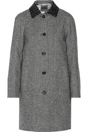 Collection embellished herringbone wool coat