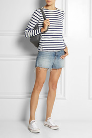 J.Crew Zip-detailed striped cotton top