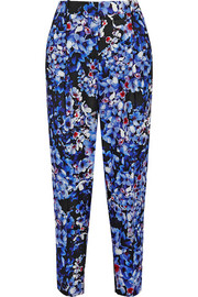 Collection Inky Floral printed satin-twill tapered pants