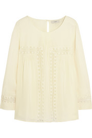 J.Crew Collection Elizabeth crochet-paneled silk-chiffon top