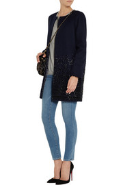 J.Crew Collection beaded wool-blend melton coat
