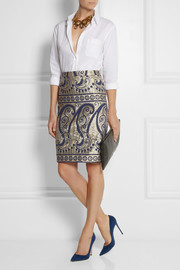 J.Crew Collection paisley-jacquard pencil skirt