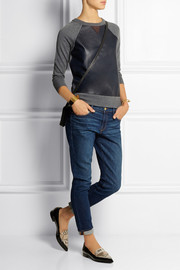 J.Crew Dorito leather-paneled merino wool top