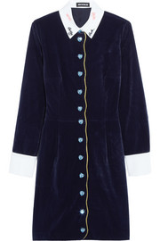 House of Holland Embroidered velvet mini dress