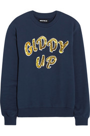 House of Holland Giddy Up sequined cotton-jersey sweatshirt