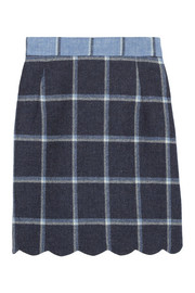 Coco checked wool mini skirt