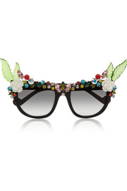 Anna-Karin Karlsson Tropical Swarovski crystal-embellished D-frame acetate sunglasses