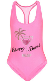 Filles à Papa Cherry Bomb Swarovski crystal-embellished racer-back swimsuit