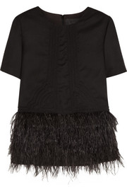 J.Crew Collection feather-embellished wool-flannel top