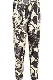 J.Crew Collection Noir floral-print silk tapered pants