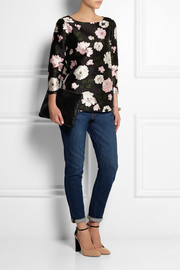 J.Crew Collection Midnight jersey-paneled wool and silk-blend top