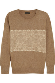 Needle-punched lace fine-knit sweater