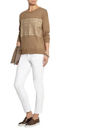 J.Crew Needle-punched lace fine-knit sweater
