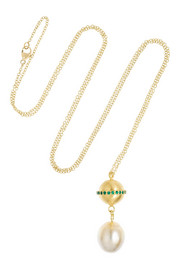 Saturn 18-karat gold, pearl and emerald necklace