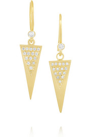 18-karat gold diamond triangle earrings