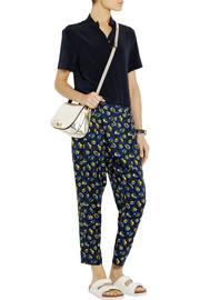 Suno Printed stretch-silk tapered pants