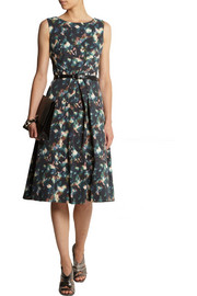 Saloni Lauren printed cotton-blend cloqué dress