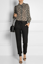 SEA Pussy-bow leopard-print cotton and silk-blend gauze blouse