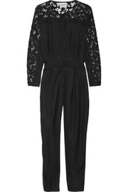 Lace-trimmed silk-twill jumpsuit