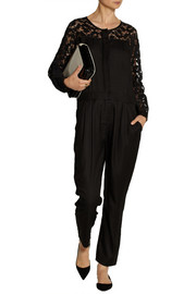 SEA Lace-trimmed silk-twill jumpsuit