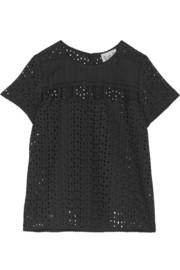 SEA Mesh-trimmed eyelet-cotton top