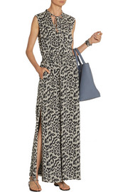 SEA Leopard-print cotton and silk-blend maxi dress