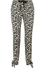 SEA Leopard-print stretch-silk tapered pants