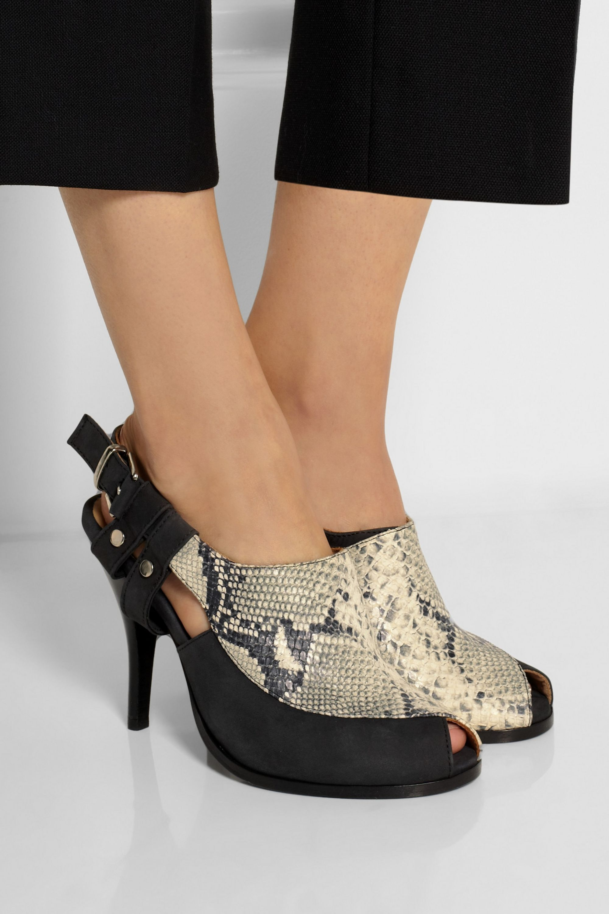 Thakoon Sophie nubuck and snake-effect leather pumps