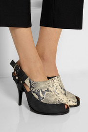 Sophie nubuck and snake-effect leather pumps