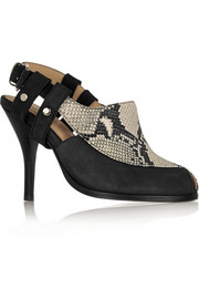 Thakoon Addition Sophie nubuck and snake-effect leather pumps