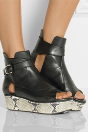 Thakoon Addition Snake-effect and leather platform sandals