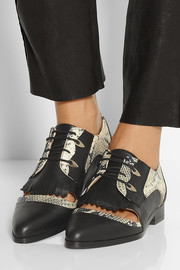 Thakoon Addition Karolina 2 paneled snake-effect leather brogues