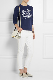 Zoe Karssen See You In Paris appliquéd cotton-blend jersey sweatshirt