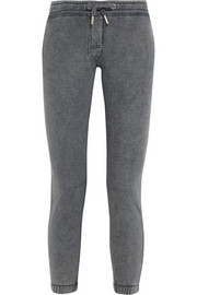 Basic faded cotton-blend jersey track pants