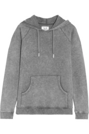 Faded cotton-blend jersey hooded sweatshirt