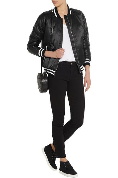 6369908f6 Leather-paneled satin bomber jacket