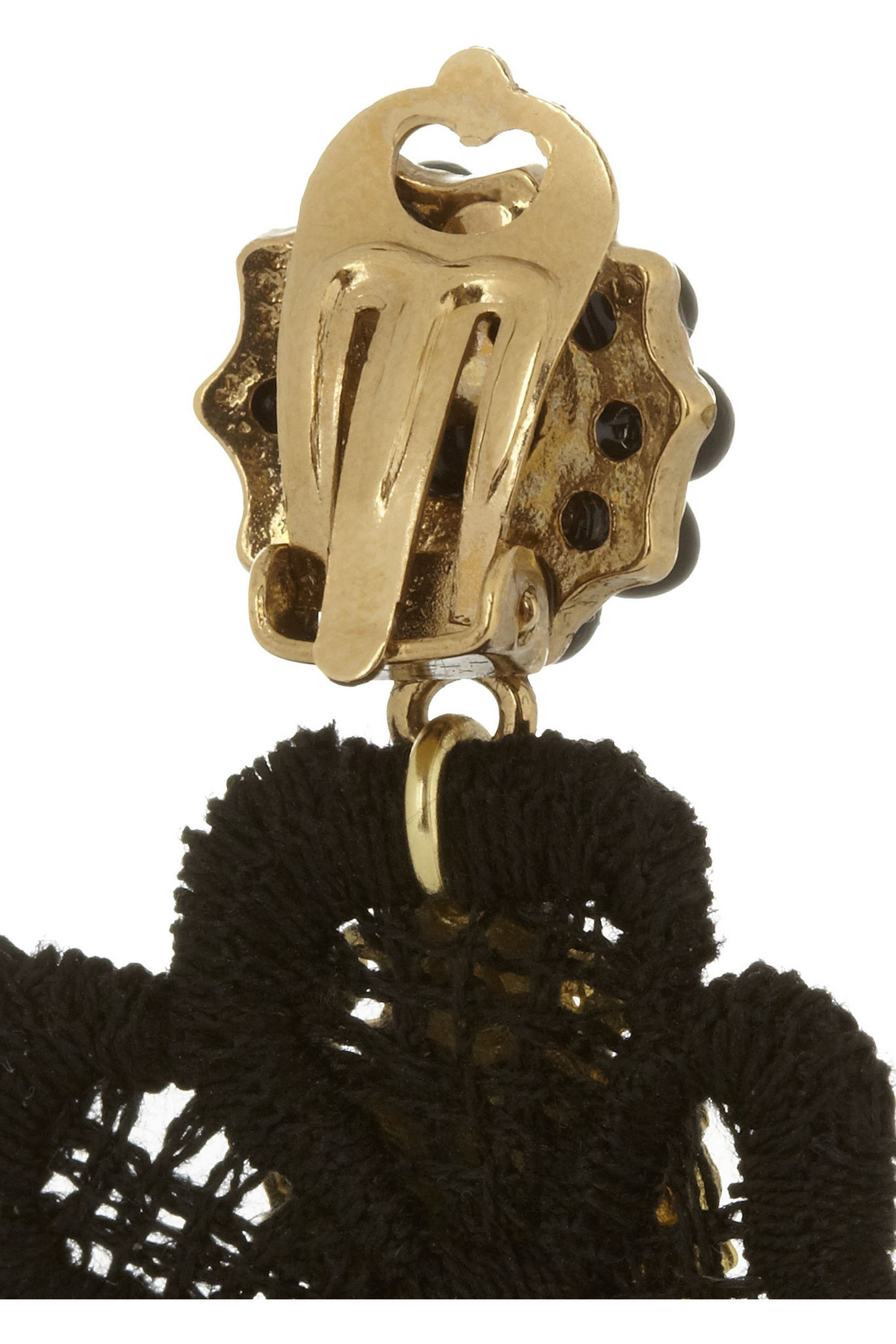 Dolce & Gabbana + V&A gold-plated, resin and macramé lace clip earrings