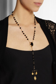 Dolce & Gabbana + V&A gold-plated, onyx and glass rosary necklace