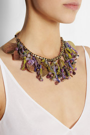 Etro + V&A hammered gold-plated, tourmaline and silk necklace