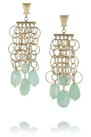 Etro + V&A gold-tone agate clip earrings