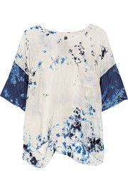 Raquel Allegra Tie-dyed crinkled silk-crepe top