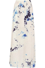 Raquel Allegra Tie-dyed crinkled silk-crepe maxi skirt