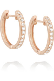 Huggy 18-karat rose gold diamond hoop earrings
