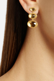 Larkspur & Hawk Tessa 22-karat gold-dipped topaz earrings