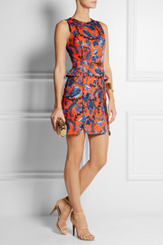 Matthew Williamson Printed stretch-scuba jersey peplum mini dress