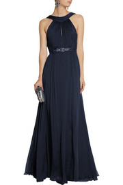 Matthew Williamson Crystal-embellished silk-chiffon gown
